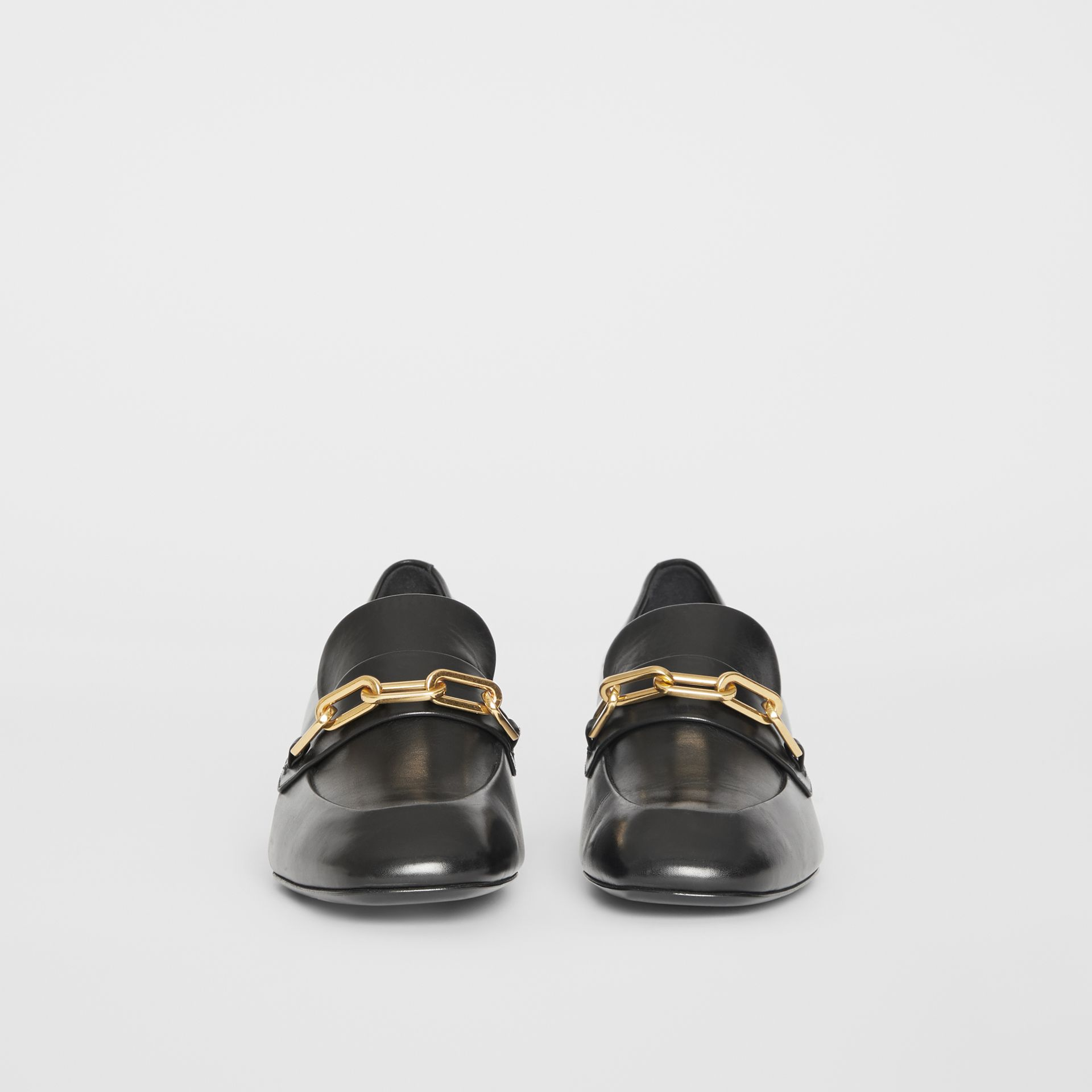 Link Detail Leather Block-heel Loafers in Black - Women | Burberry - gallery image 3