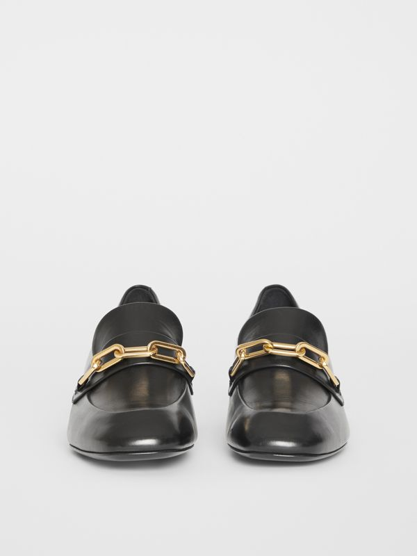 Link Detail Leather Block-heel Loafers in Black - Women | Burberry Canada - cell image 3