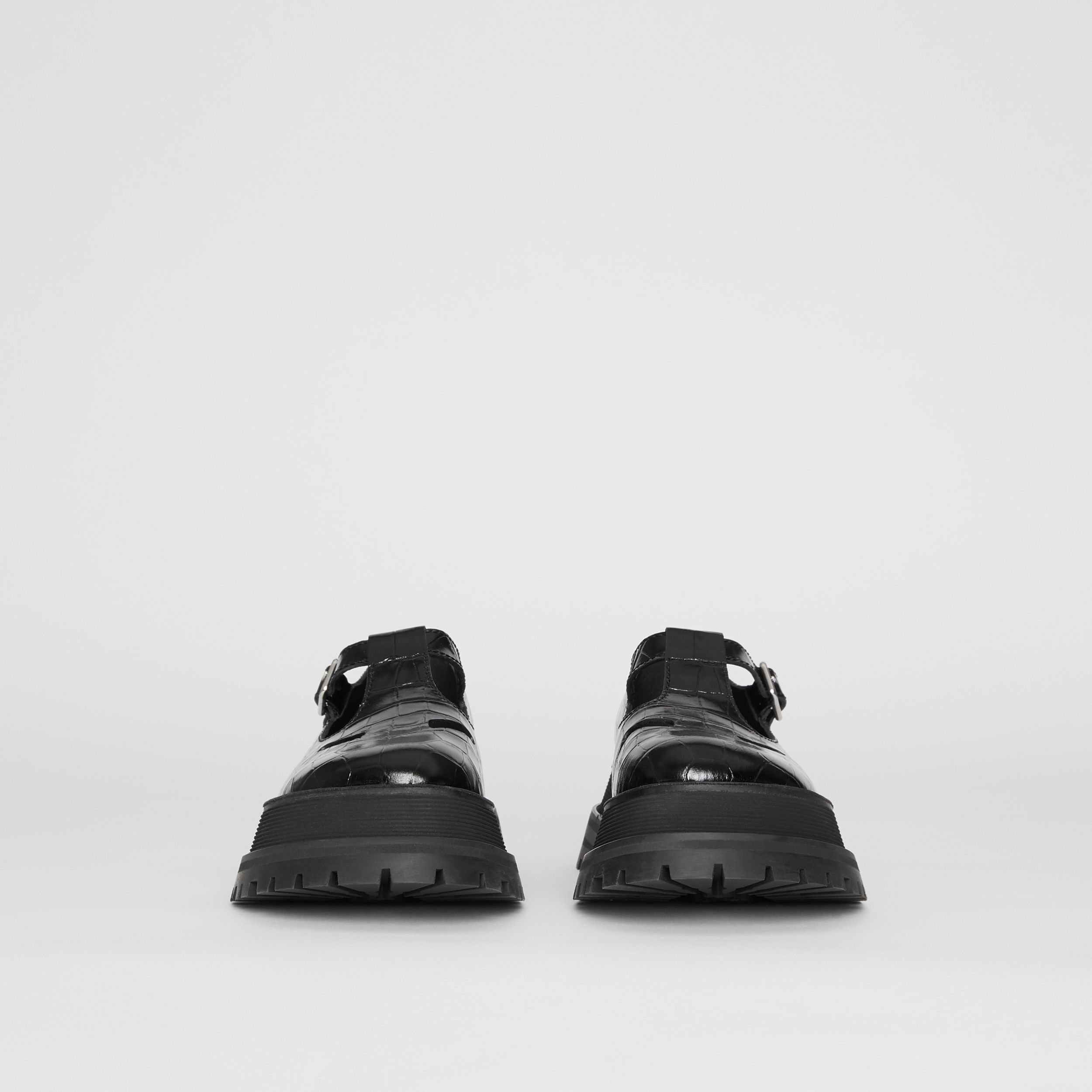 Embossed Leather T-bar Shoes in Black - Women | Burberry - 4