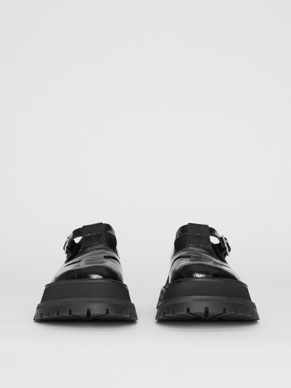 Embossed Leather T-bar Shoes in Black - Women | Burberry - cell image 2