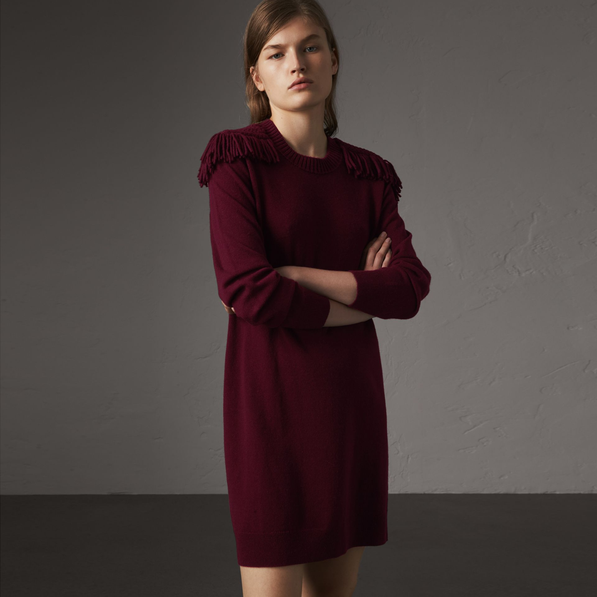 Epaulette Detail Wool Cashmere Dress in Burgundy - Women | Burberry United Kingdom - gallery image 0