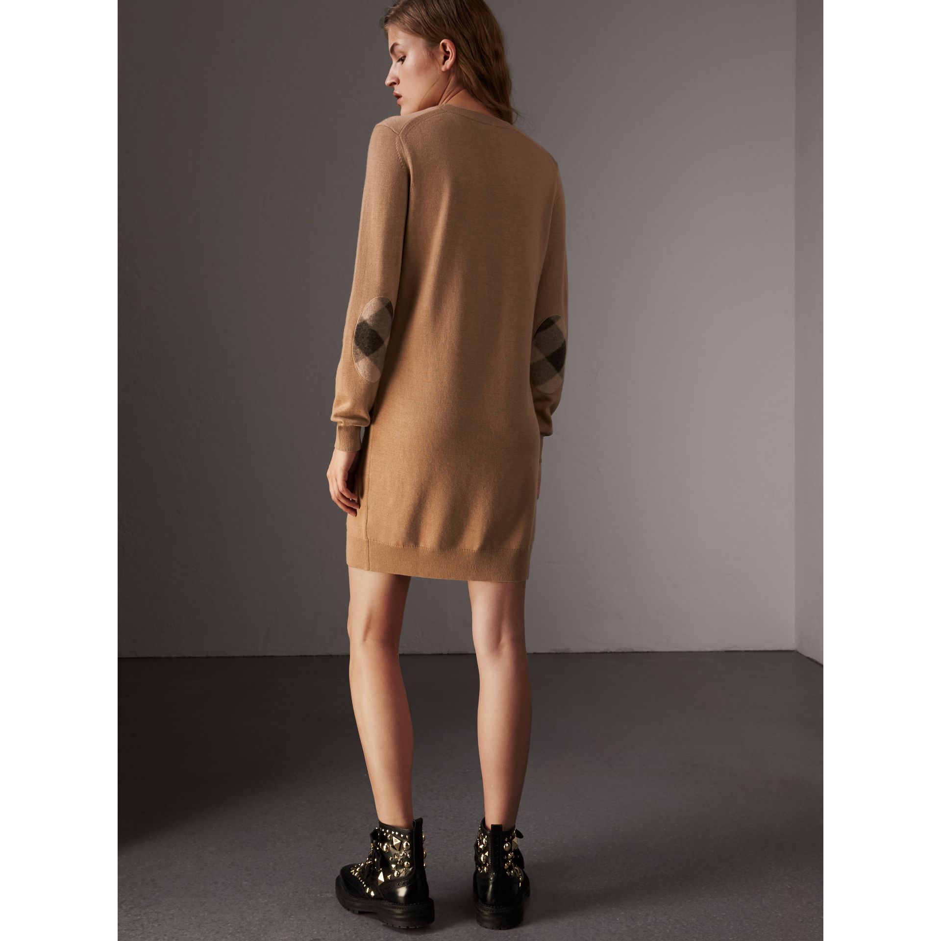 Check Elbow Detail Merino Wool Sweater Dress in Camel - Women | Burberry United States - gallery image 3