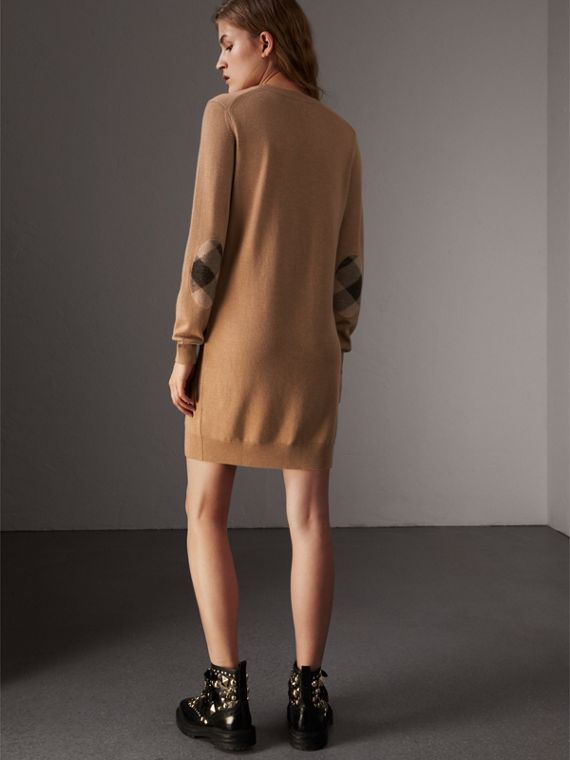 Check Elbow Detail Merino Wool Sweater Dress in Camel - Women | Burberry United States - cell image 2