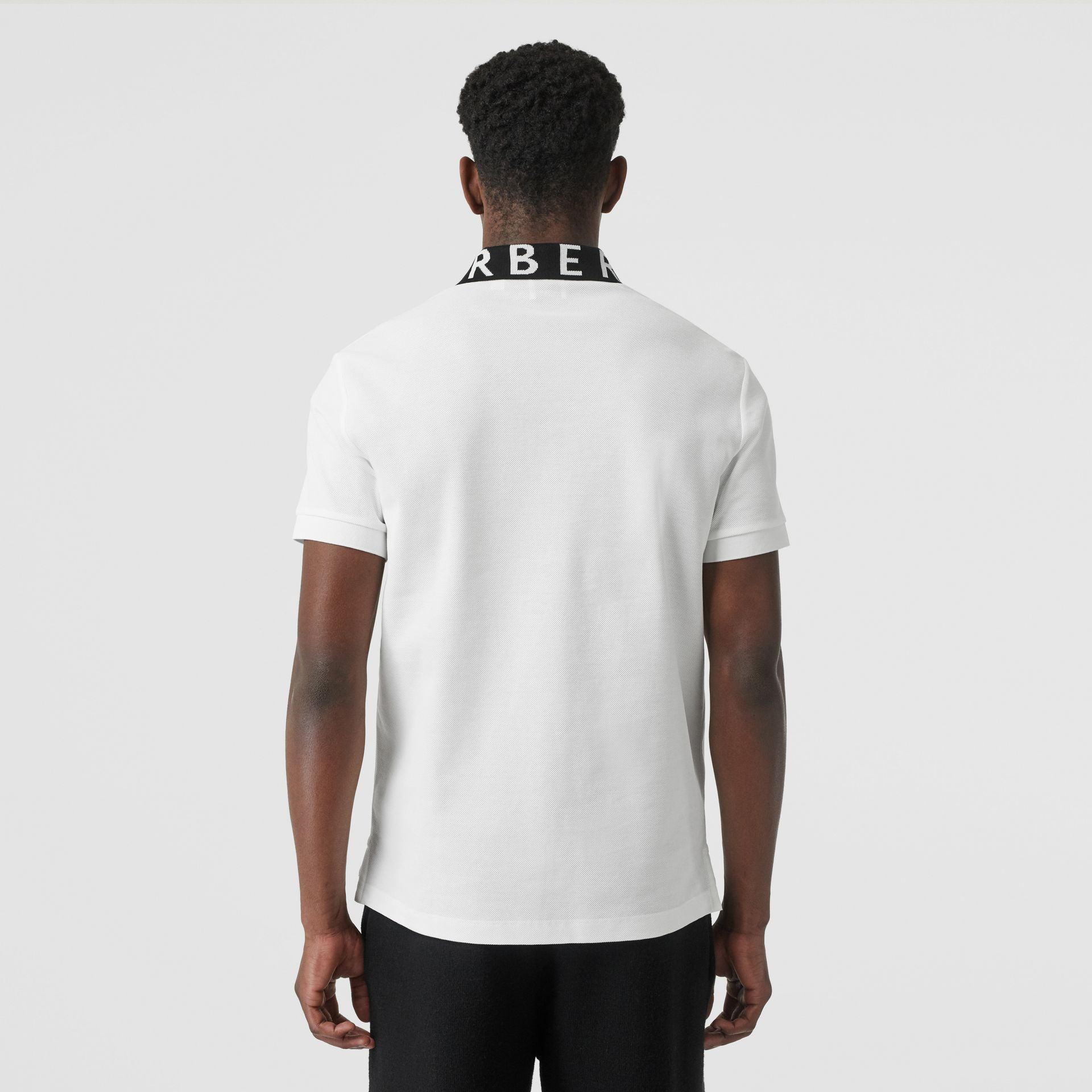 Logo Intarsia Cotton Piqué Polo Shirt in White - Men | Burberry - gallery image 2
