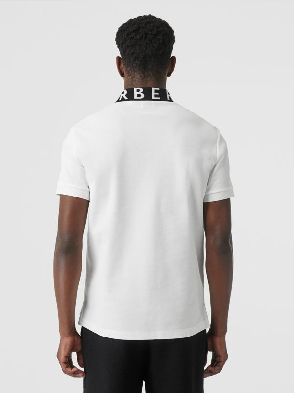 Logo Intarsia Cotton Piqué Polo Shirt in White - Men | Burberry - cell image 2