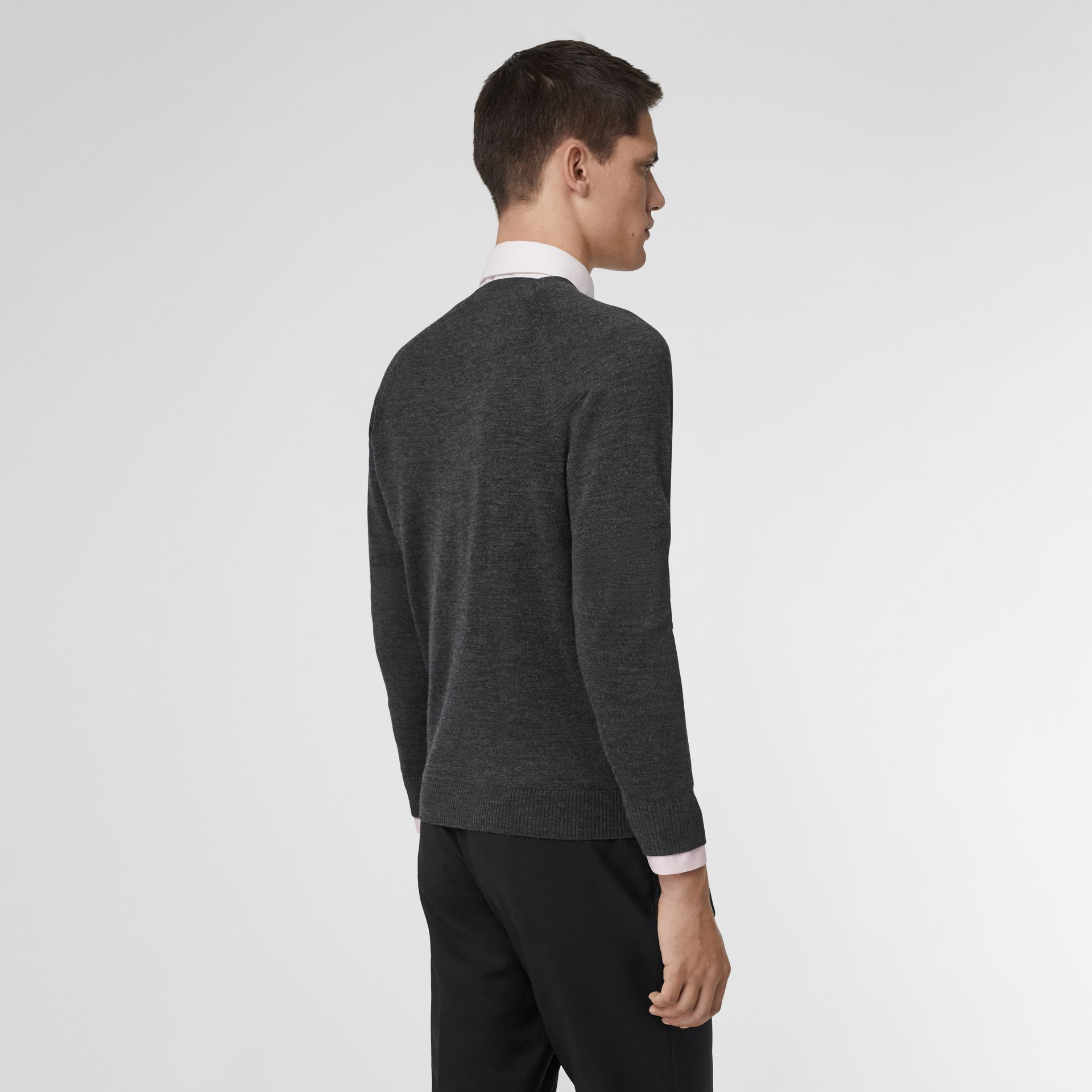 Monogram Motif Wool Silk Sweater in Dark Grey | Burberry - gallery image 2