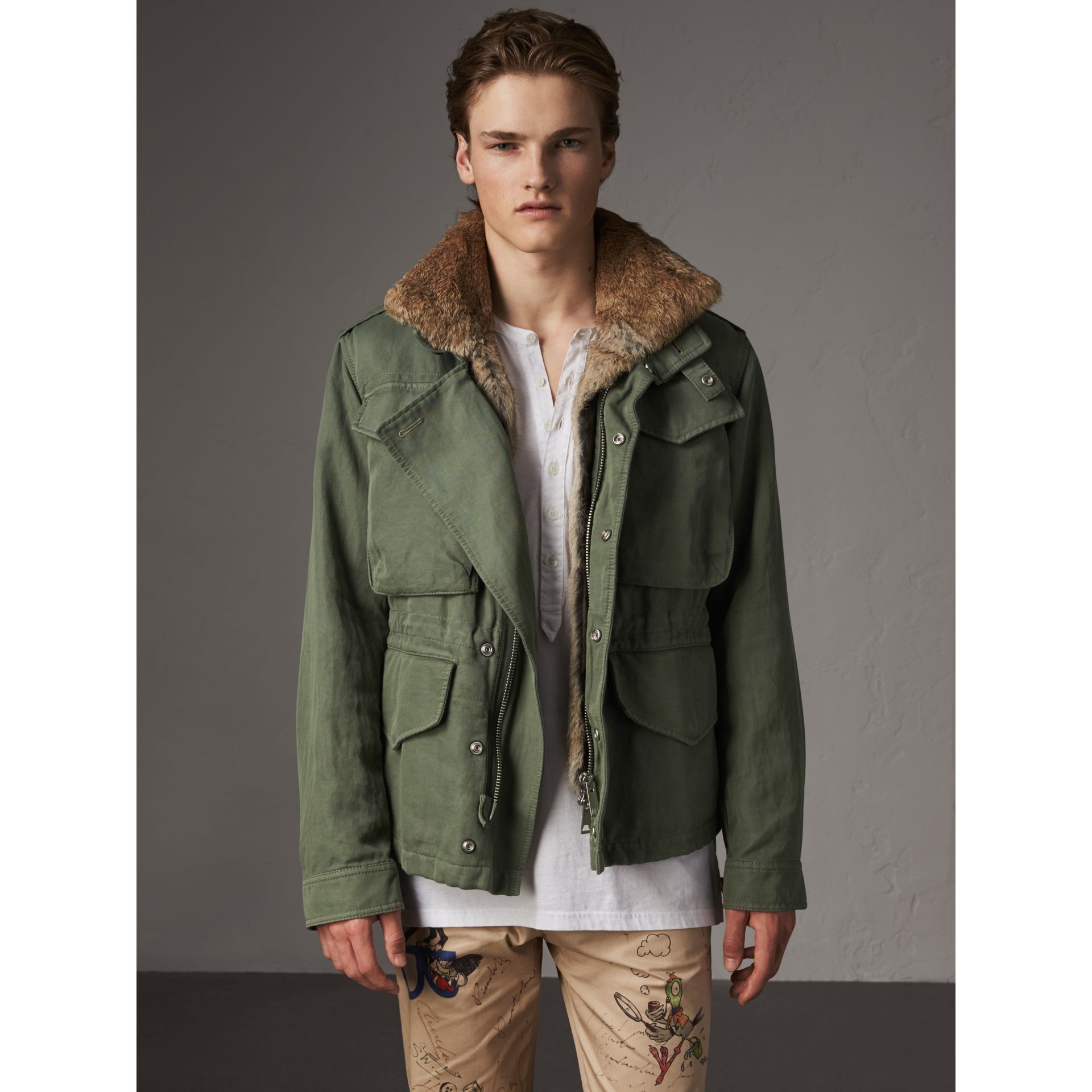 Packaway Hood Cotton Field Jacket with Fur Warmer in Slate Green - Men | Burberry - gallery image 7