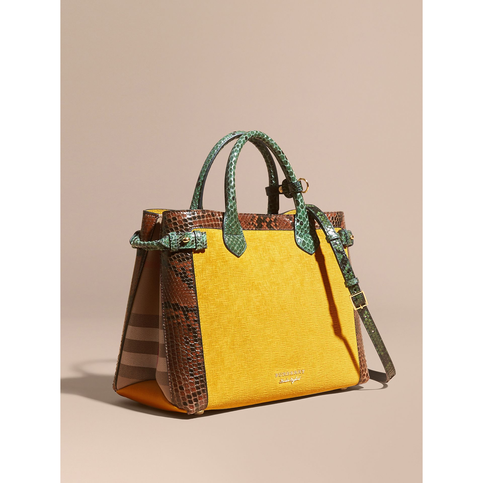 The Medium Banner in Leather, Python and House Check in Larch Yellow - Women | Burberry Singapore - gallery image 1