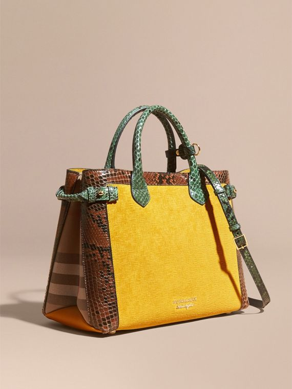 The Medium Banner in Leather, Python and House Check in Larch Yellow
