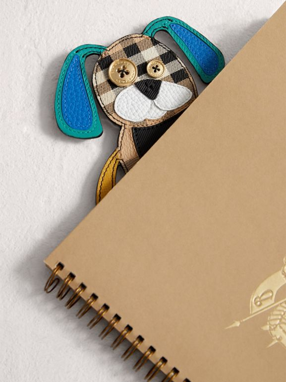 Dog Appliqué Leather and Haymarket Check Bookmark in Black | Burberry - cell image 1