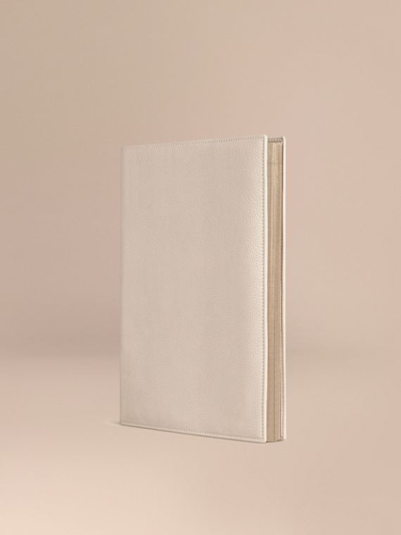 Grainy Leather A4 Notebook in Stone | Burberry