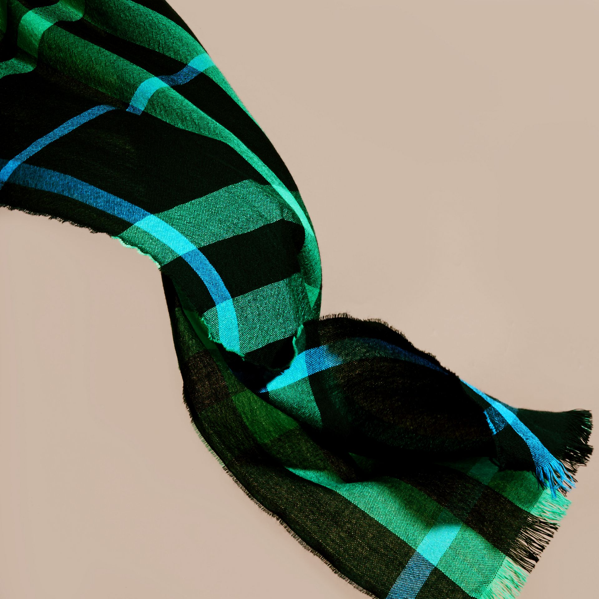 Lightweight Check Wool Cashmere Scarf Bright Green - gallery image 4