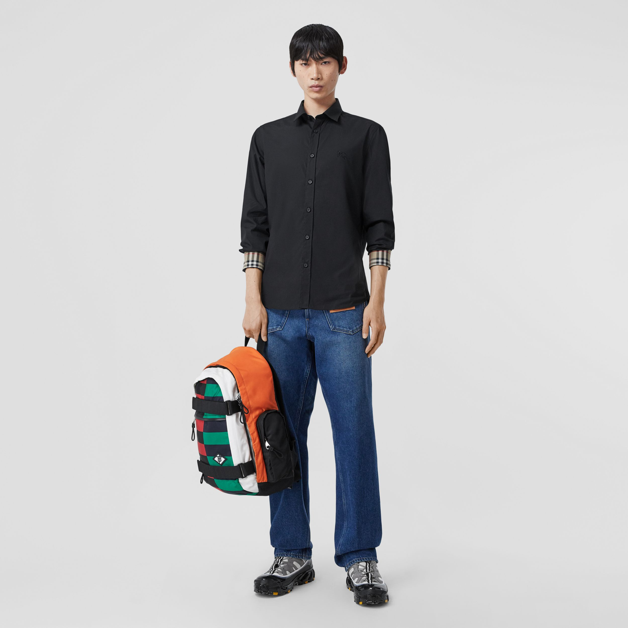 Slim Fit Embroidered EKD Stretch Cotton Shirt in Black - Men | Burberry - 1