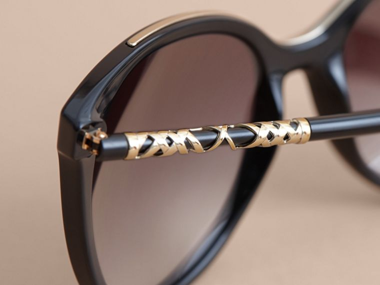 Check Detail Square Frame Sunglasses in Black - Women | Burberry - cell image 1