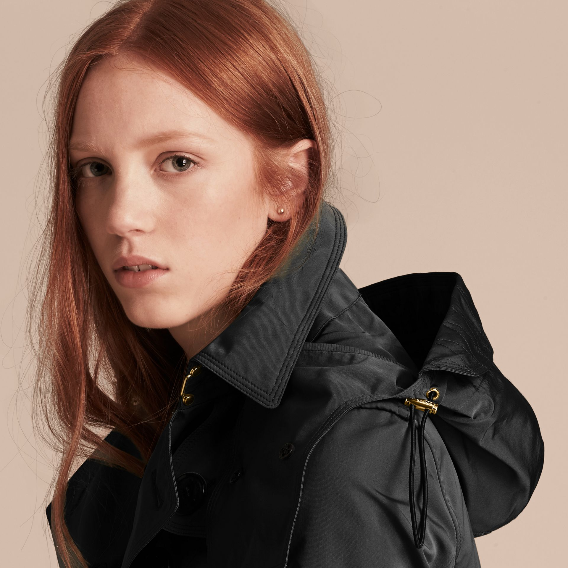 Showerproof Taffeta Trench Jacket with Detachable Hood in Black - gallery image 6