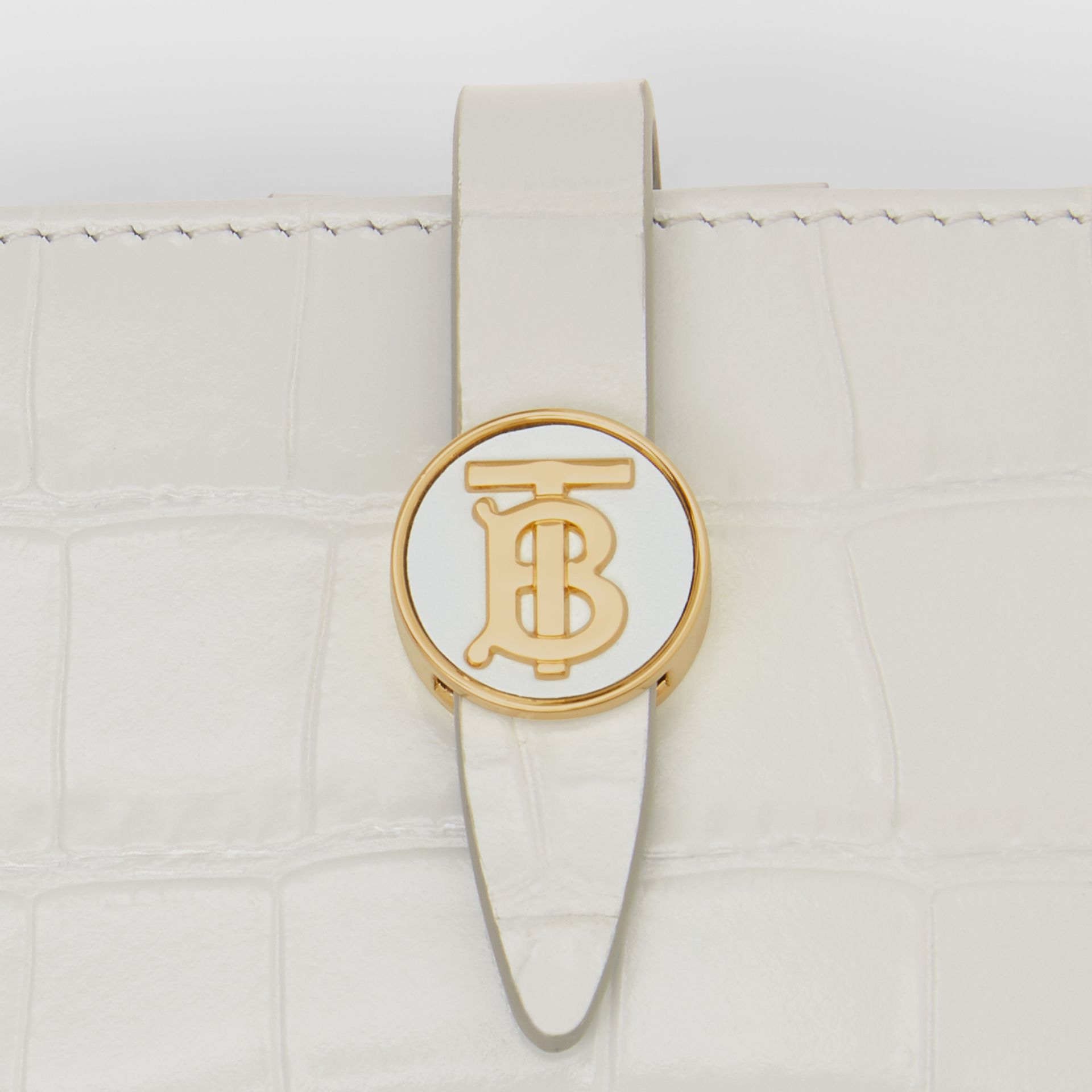 Monogram Motif Embossed Leather Card Case in Light Pebble Grey - Women | Burberry - gallery image 1