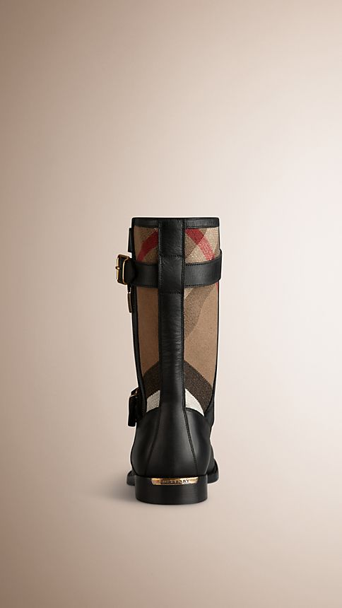 Black Check Detail Belted Leather Boots - Image 2
