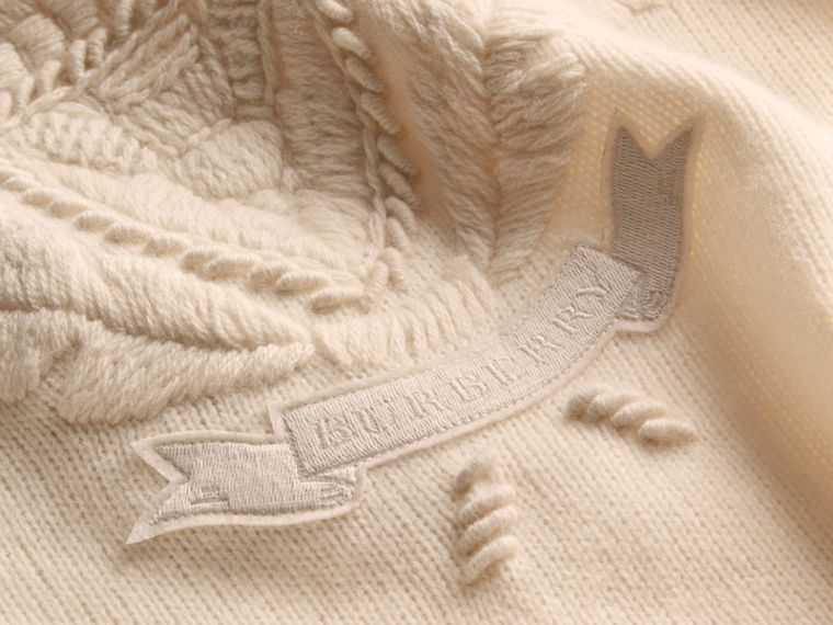 Natural white Embroidered Crest Wool Sweater - cell image 1