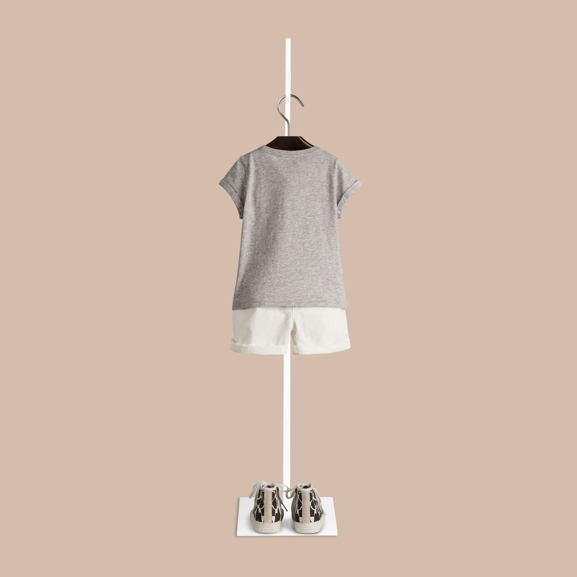 Grey melange Giraffe Print Cotton T-shirt - gallery image 2