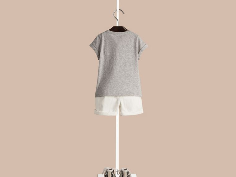 Grey melange Giraffe Print Cotton T-shirt - cell image 1