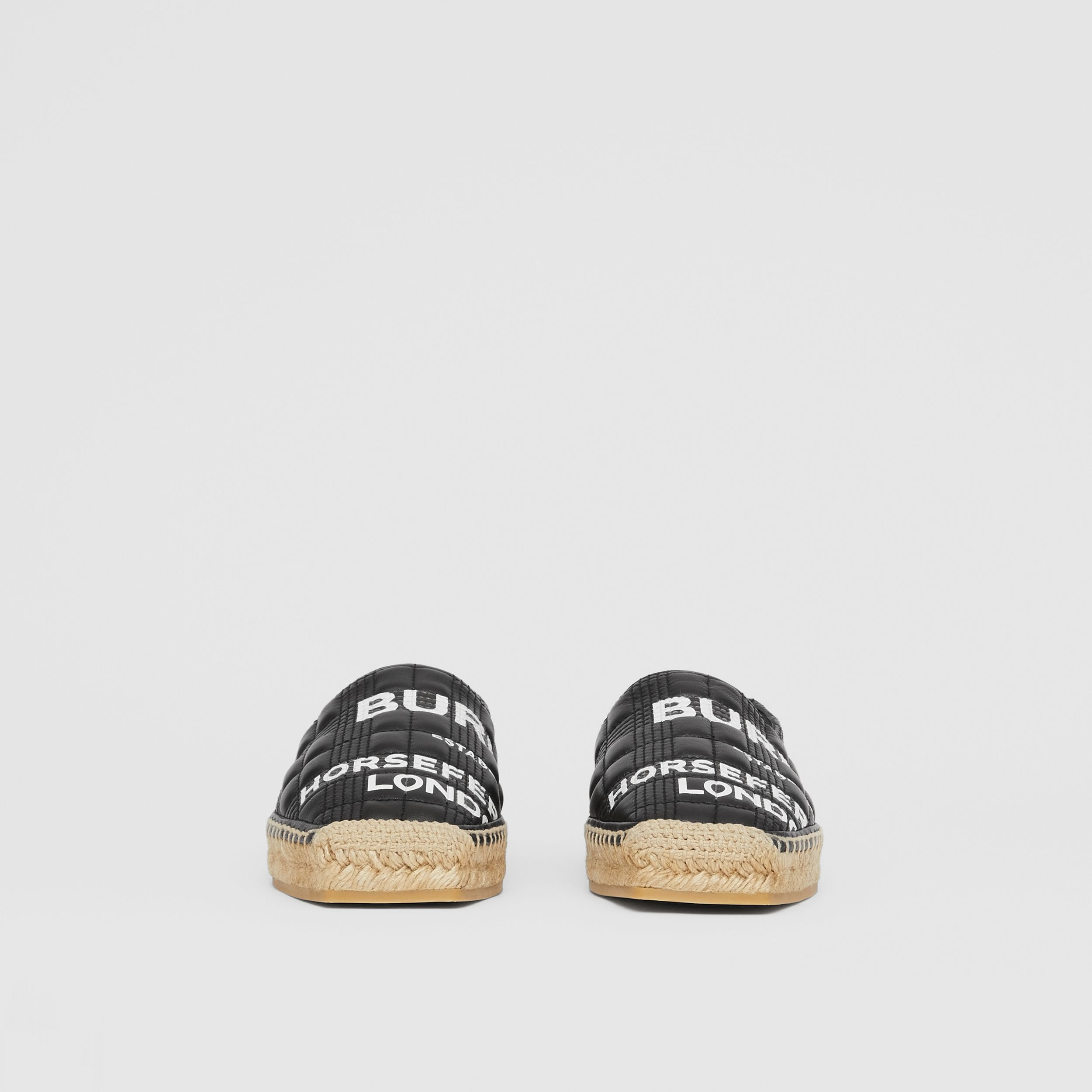 Horseferry Print Quilted Leather Espadrilles in Black - Women | Burberry - 4