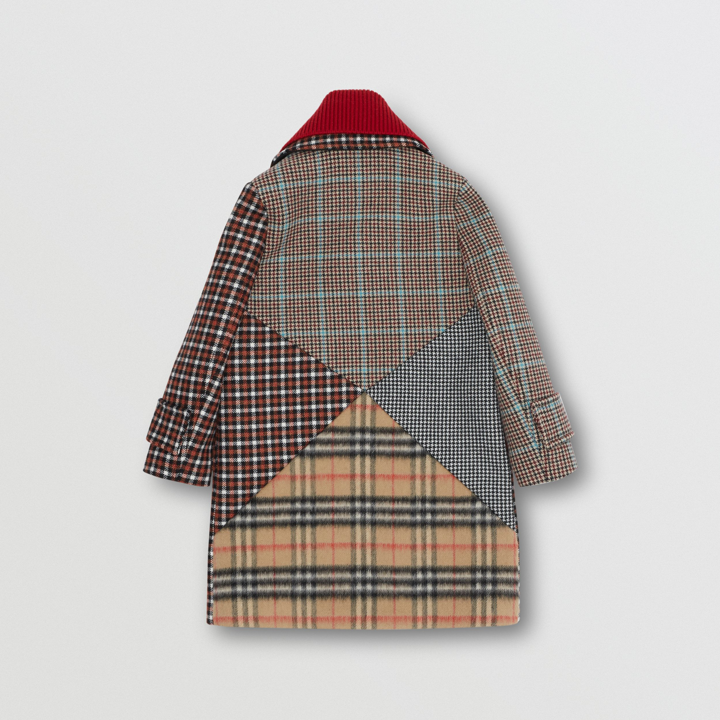 Detachable Collar Patchwork Check Wool Blend Coat in Vermilion Red | Burberry - 3