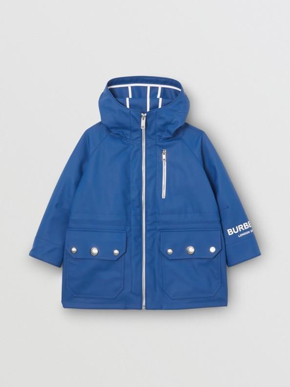 Logo Print Showerproof Hooded Jacket in Imperial Blue