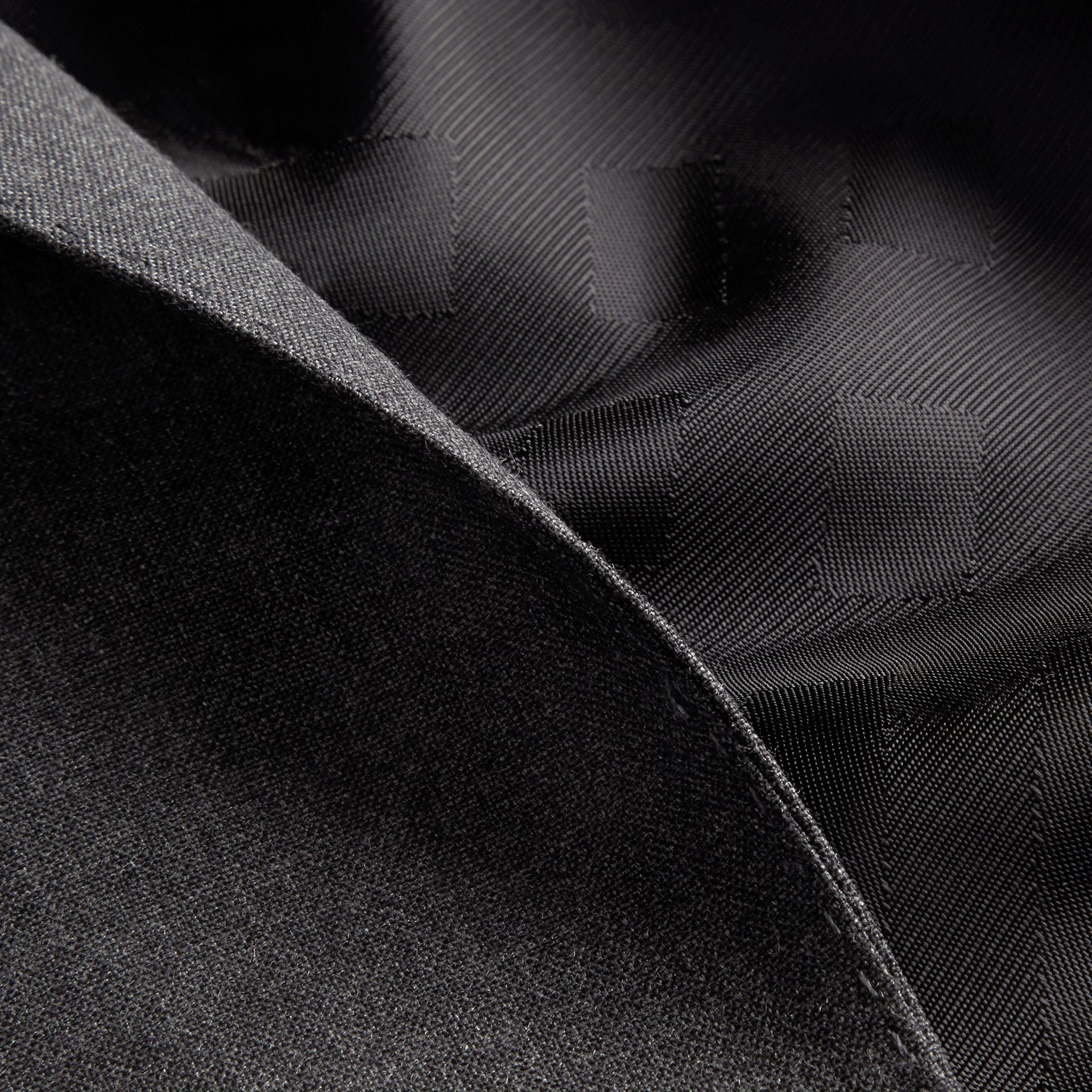 Modern Fit Wool Part-canvas Suit Charcoal - gallery image 2