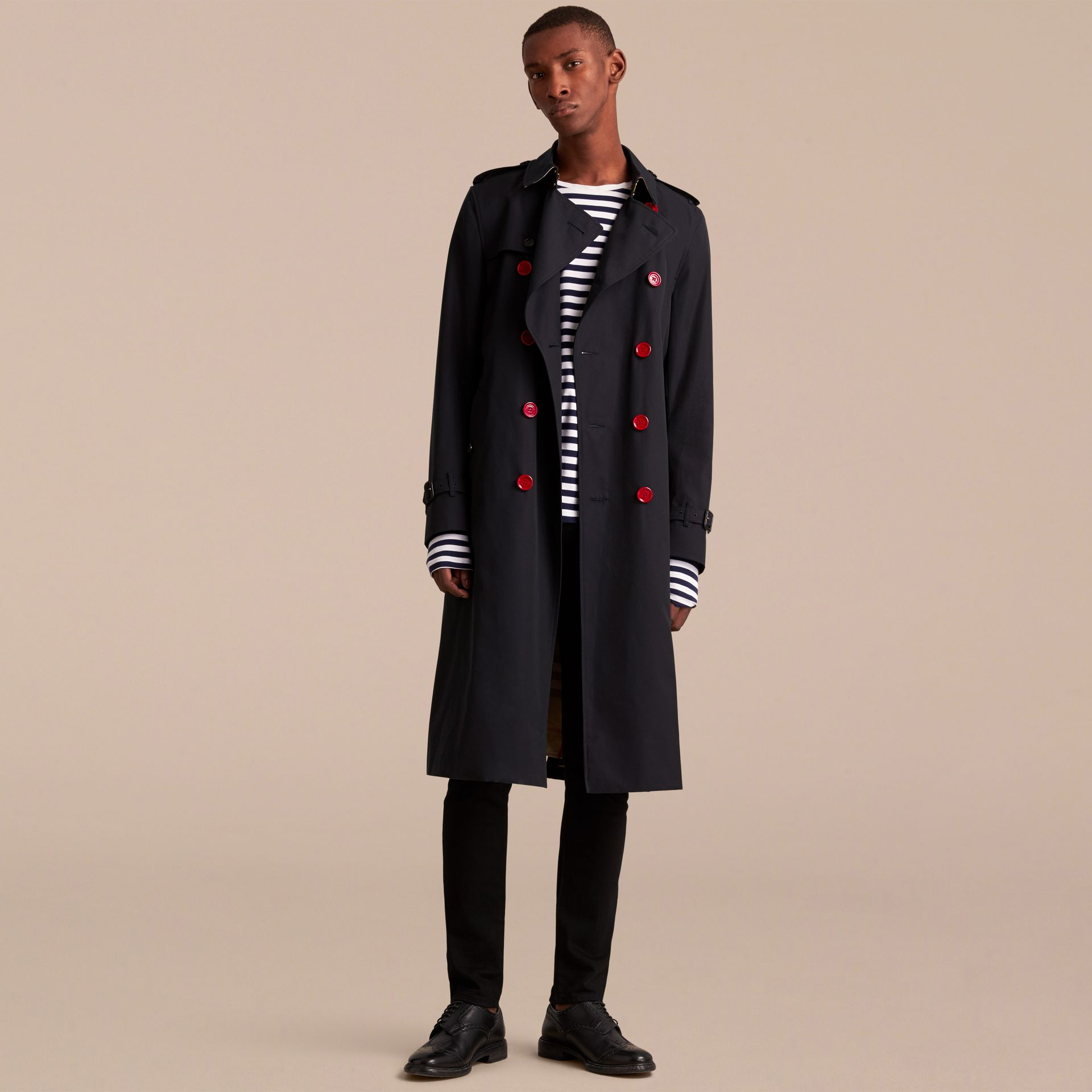Extra-long Resin Button Cotton Gabardine Trench Coat in Navy - Men | Burberry - gallery image 8