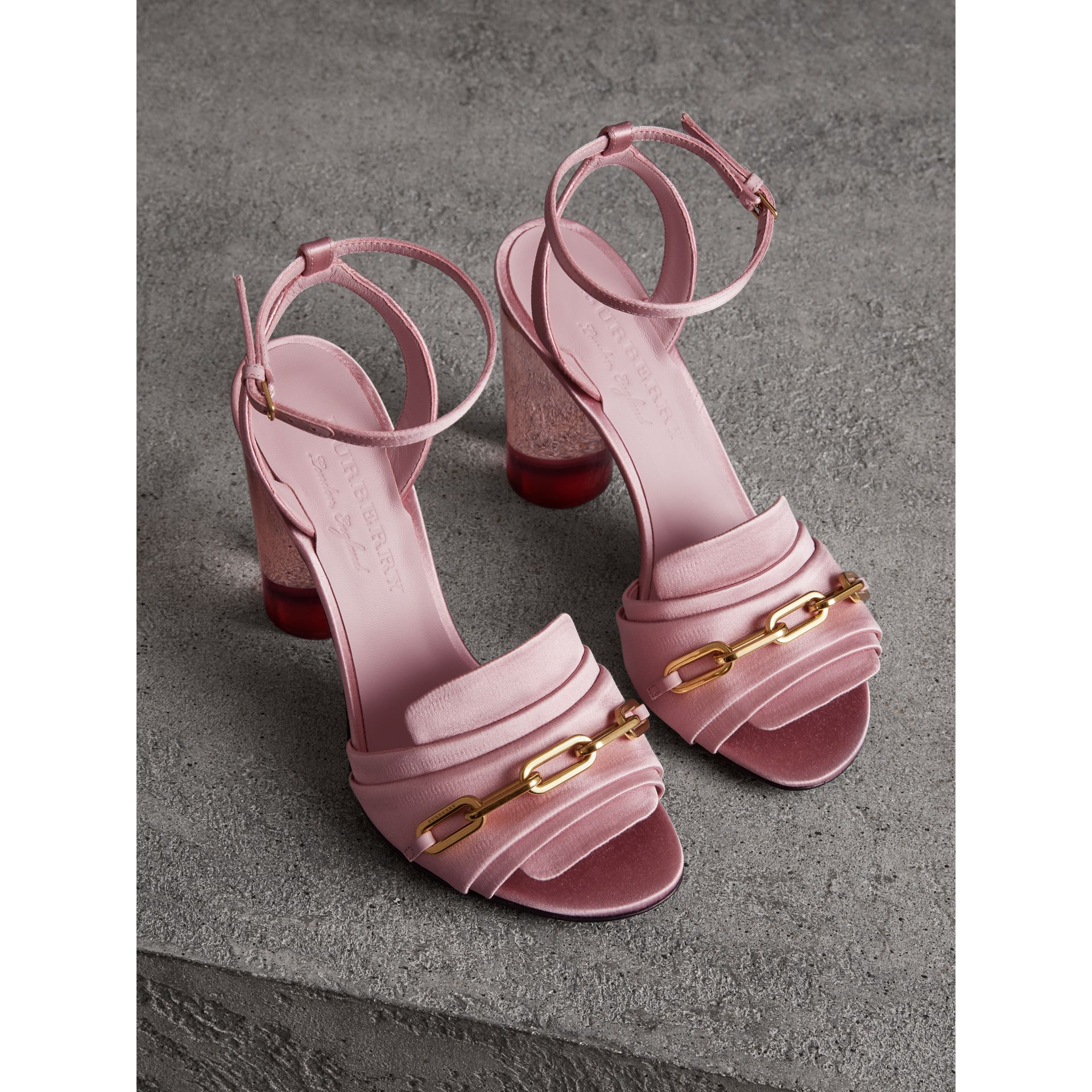 Link Detail Perspex Heel Satin Sandals in Light Pink Melange - Women | Burberry Canada - gallery image 4