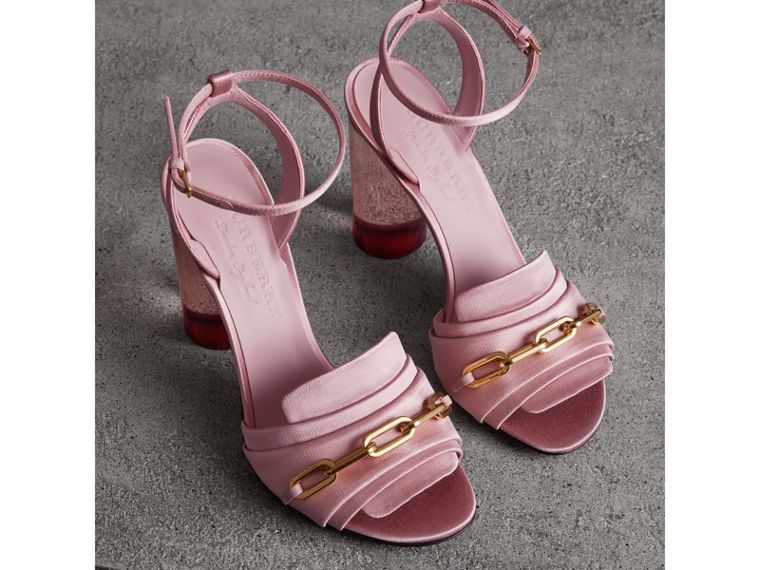 Link Detail Perspex Heel Satin Sandals in Light Pink Melange - Women | Burberry - cell image 4