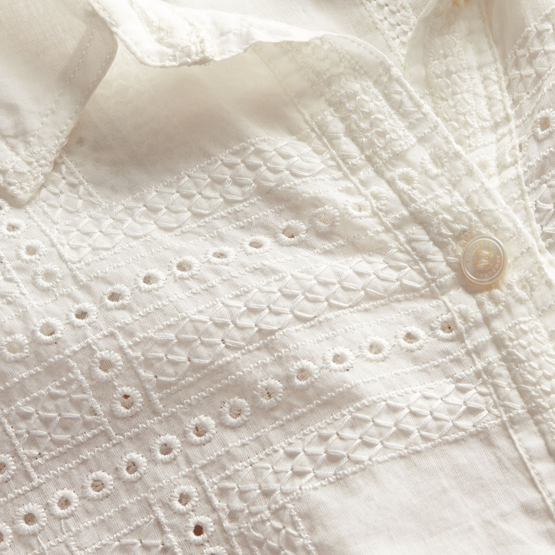 Natural white Check Cotton Broderie Anglaise Shirt - gallery image 2