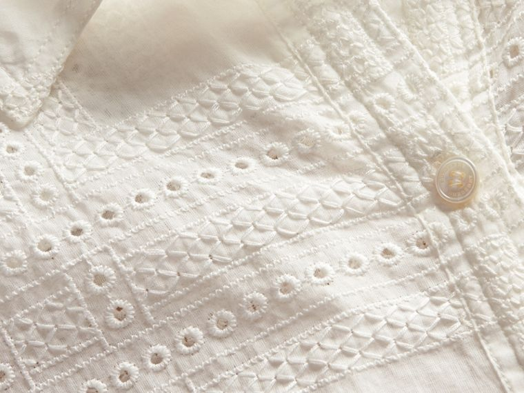 Natural white Check Cotton Broderie Anglaise Shirt - cell image 1
