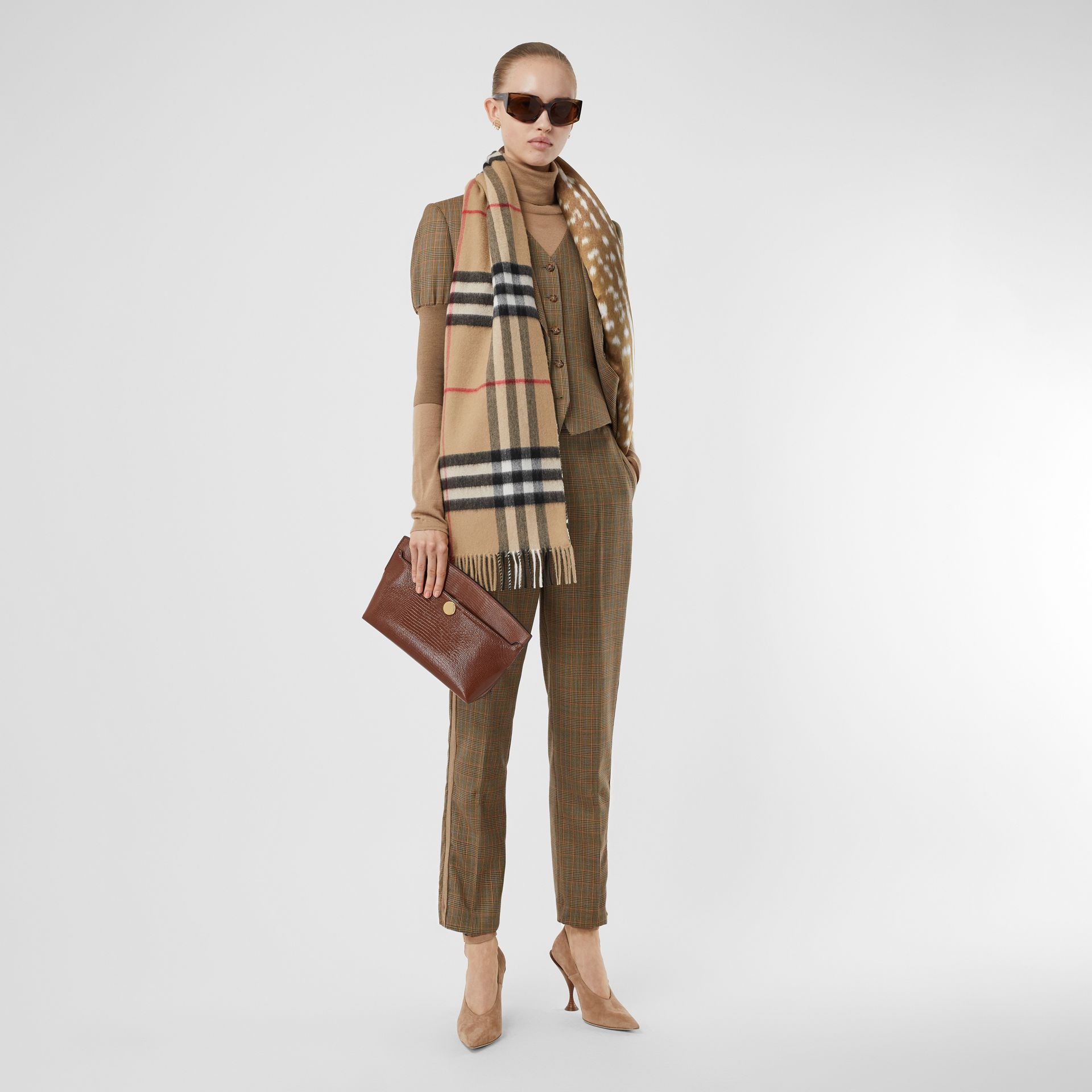 Check and Animal Print Cashmere Silk Puffer Scarf in Honey | Burberry - gallery image 6