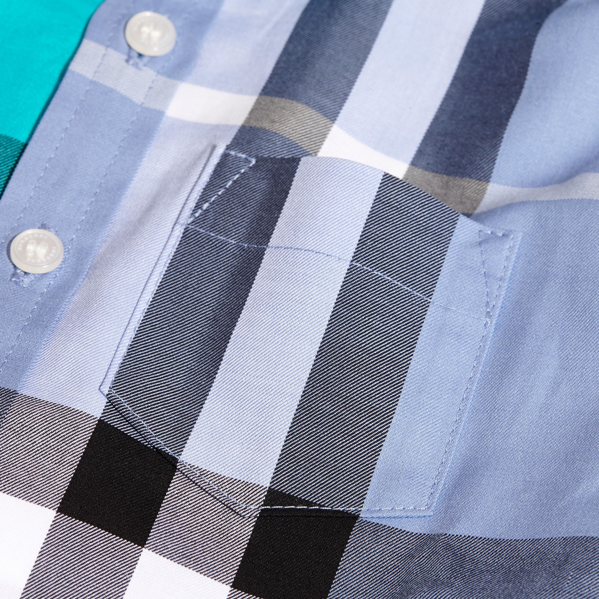 Short-sleeved Contrast Check Cotton Shirt Cyan Green - gallery image 2