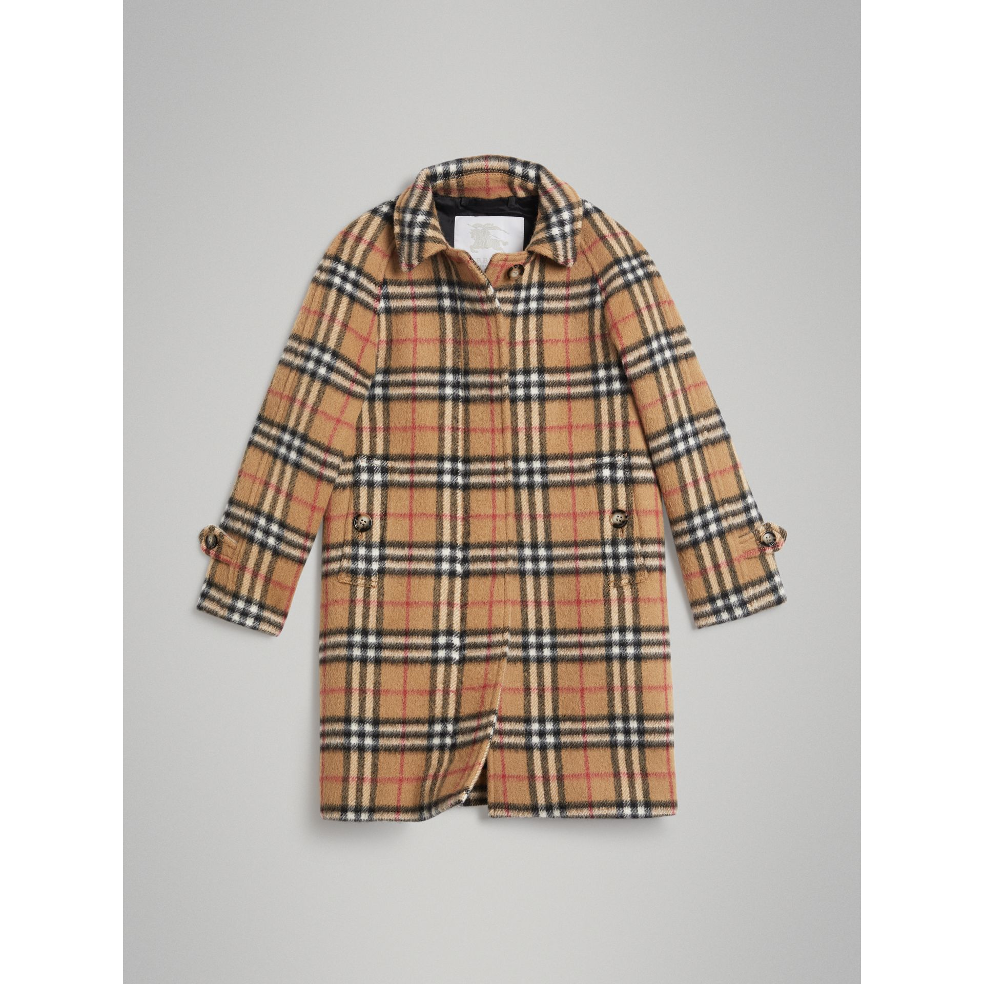 Vintage Check Alpaca Wool Blend Car Coat in Antique Yellow - Girl | Burberry - gallery image 0