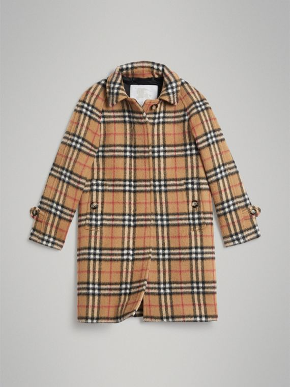 Car coat in misto lana di alpaca con motivo Vintage check (Giallo Antico)