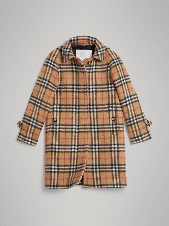 Vintage Check Alpaca Wool Blend Car Coat in Antique Yellow