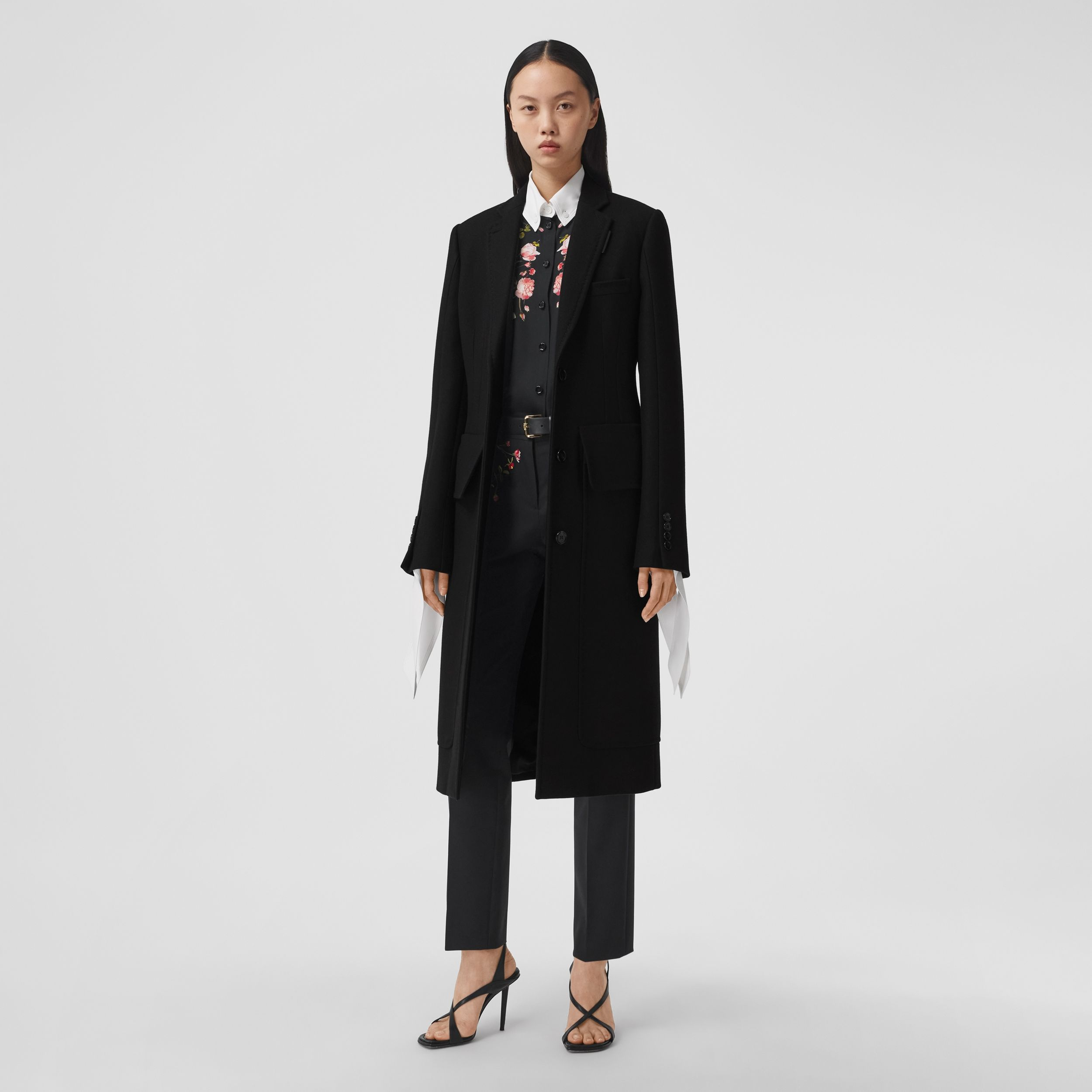 Camel Hair Wool Tailored Coat in Black - Women | Burberry - 1