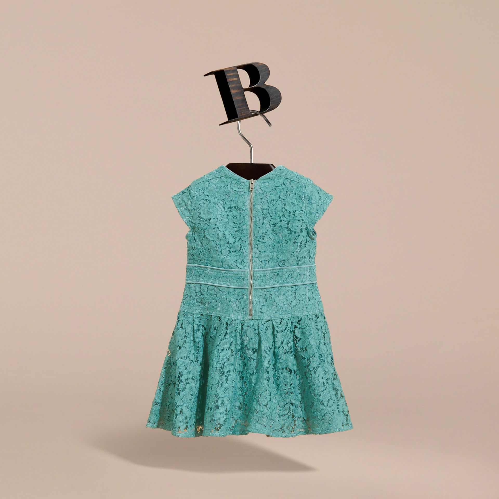 Cap Sleeve Macramé Lace Dress in Pale Turquoise - Girl | Burberry - gallery image 4