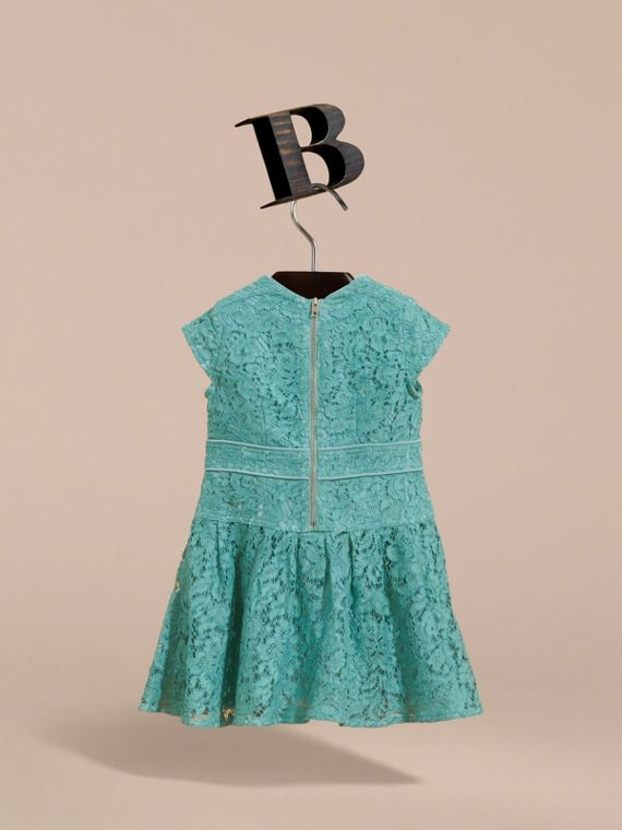 Cap Sleeve Macramé Lace Dress in Pale Turquoise - Girl | Burberry - cell image 3
