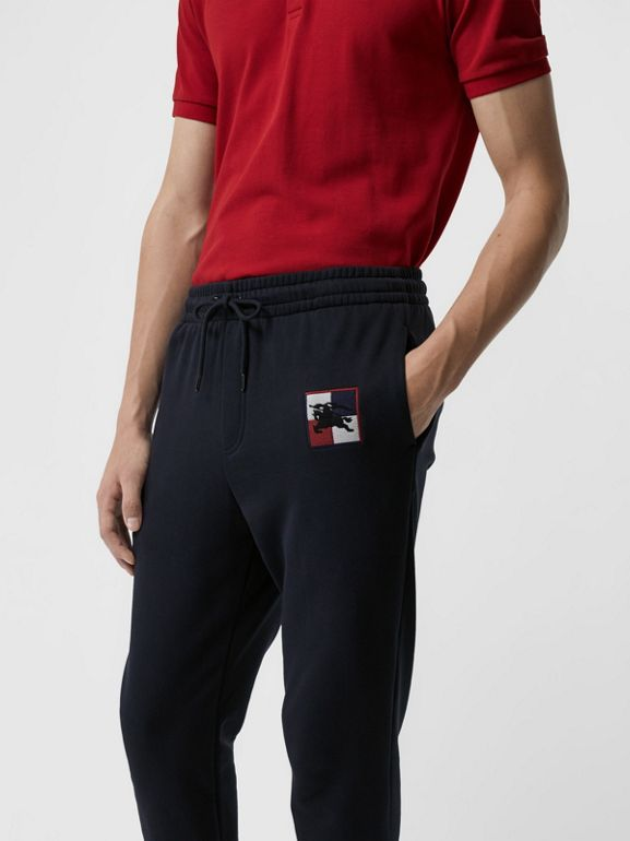 Chequer EKD Cotton Trackpants in Navy - Men | Burberry Canada - cell image 1