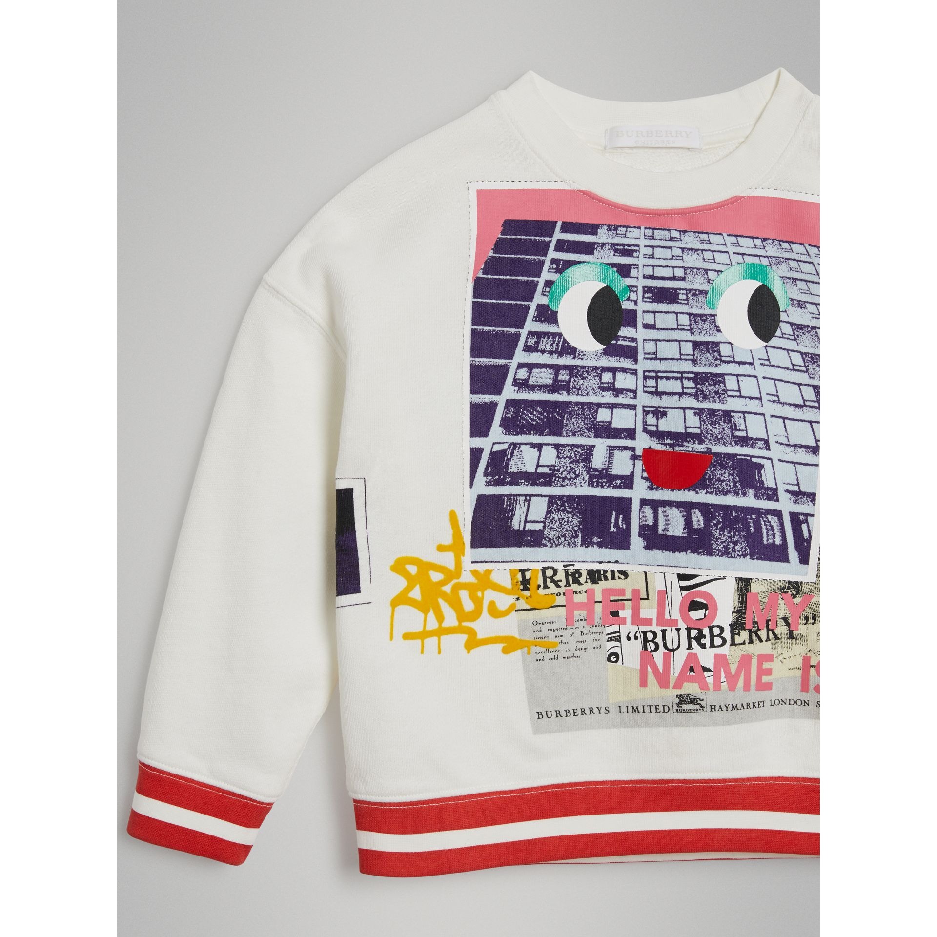 London Polaroid Print Cotton Sweatshirt in Ivory | Burberry Australia - gallery image 4