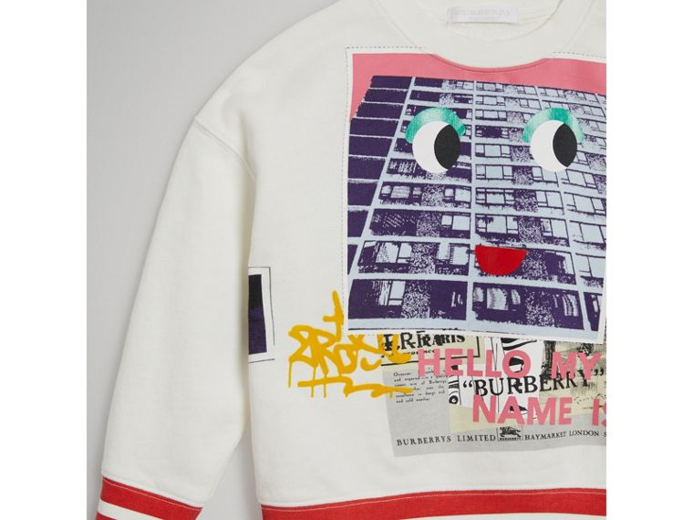 London Polaroid Print Cotton Sweatshirt in Ivory - Girl | Burberry - cell image 4