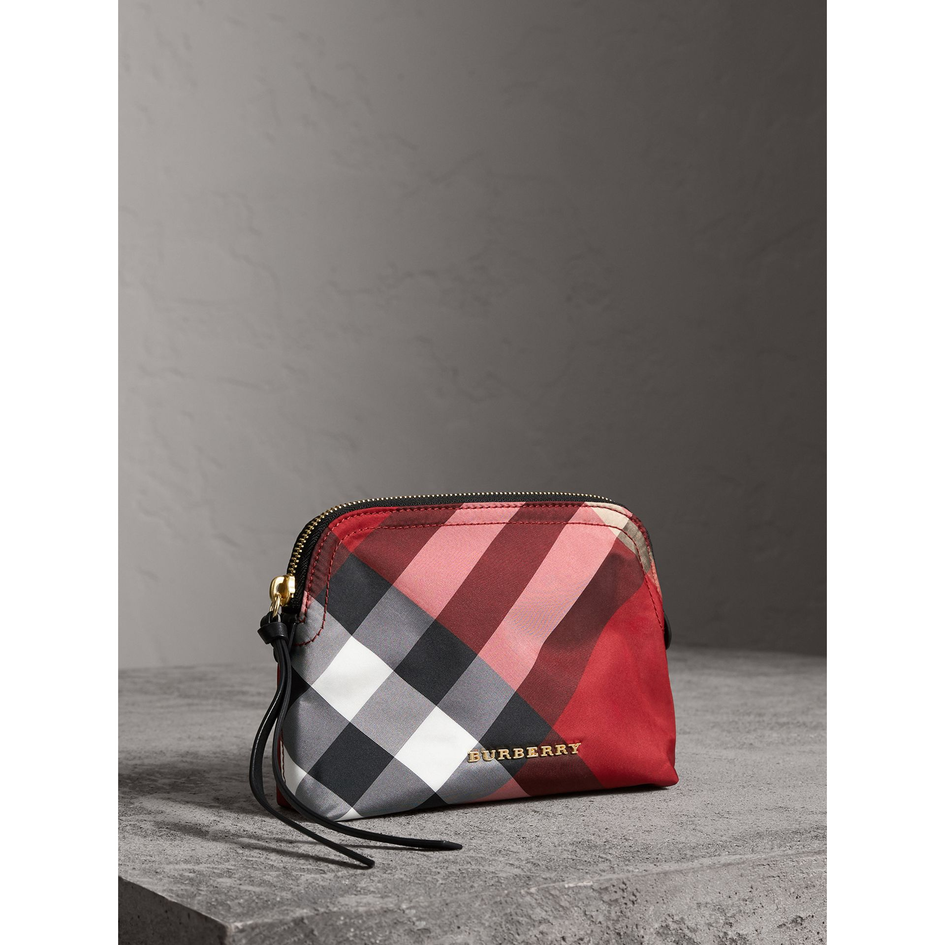 Medium Zip-top Check Technical Pouch in Parade Red - Women | Burberry - gallery image 6