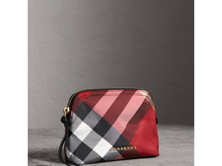 Medium Zip-top Check Technical Pouch in Parade Red - Women | Burberry Singapore - cell image 4