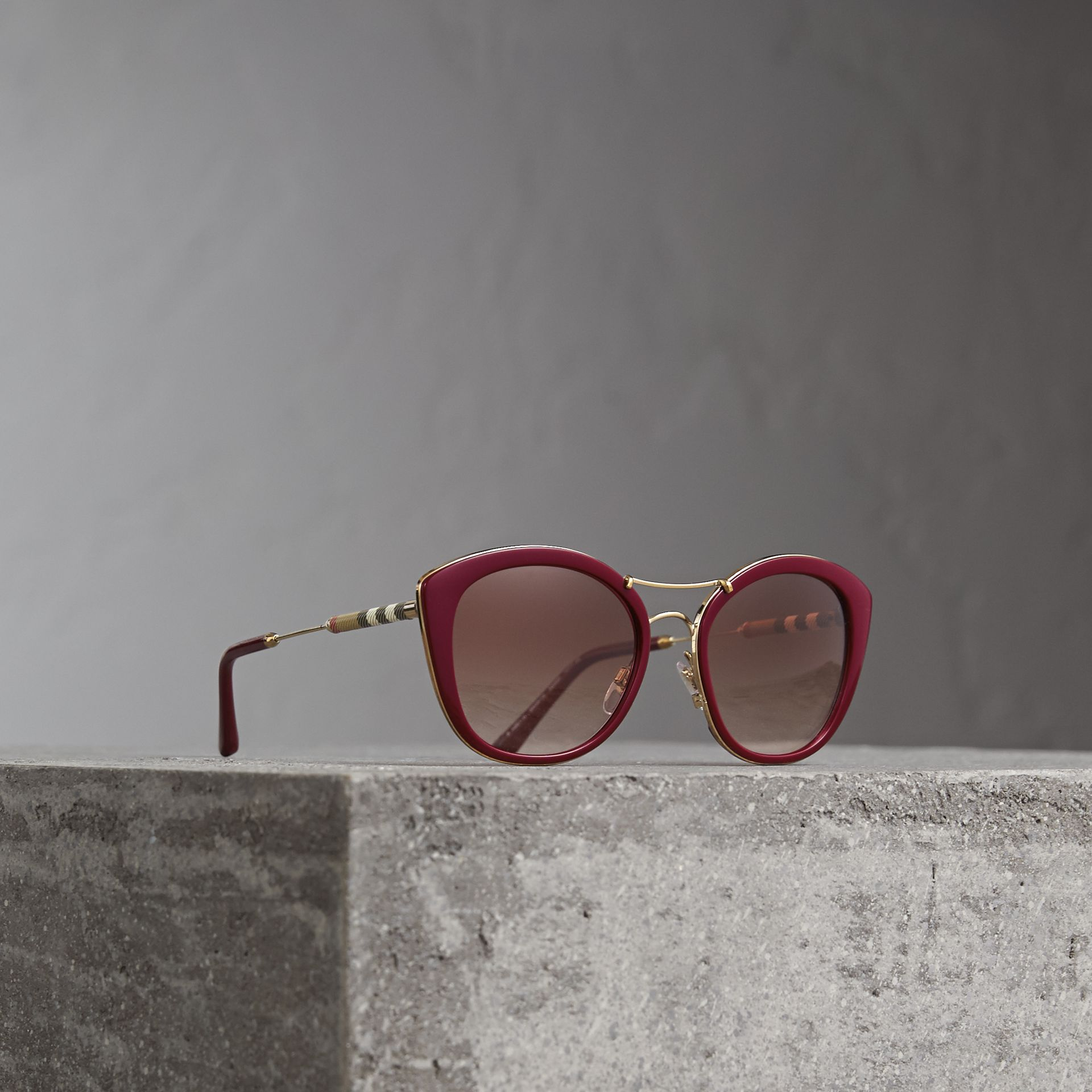 Check Detail Round Frame Sunglasses in Burgundy - Women | Burberry Singapore - gallery image 0