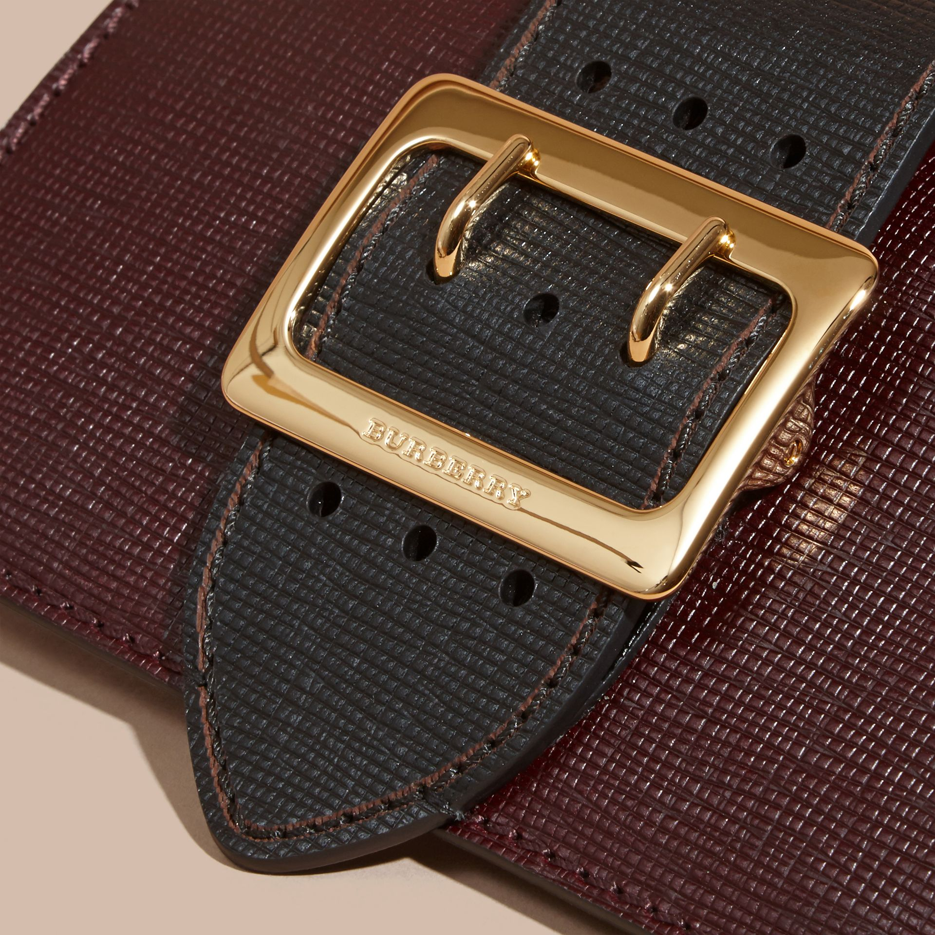 The Small Buckle Bag in Textured Leather in Burgundy/black - gallery image 2