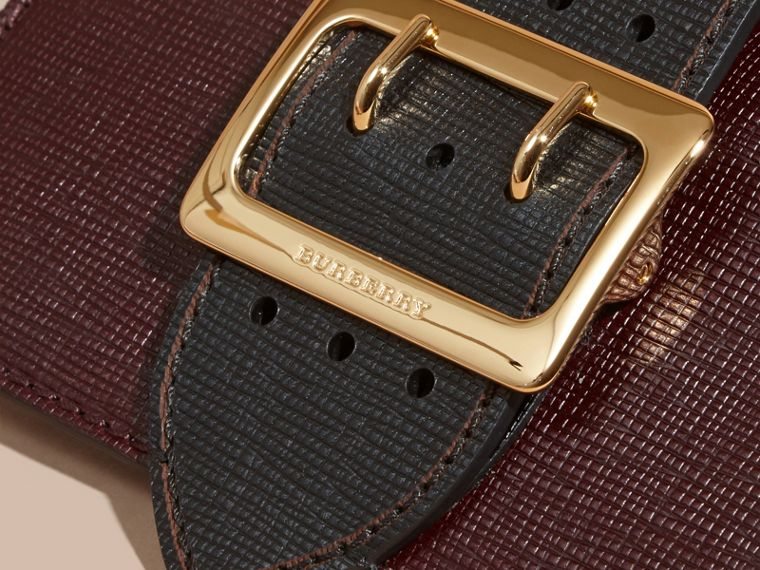 The Small Buckle Bag in Textured Leather in Burgundy/black - cell image 1