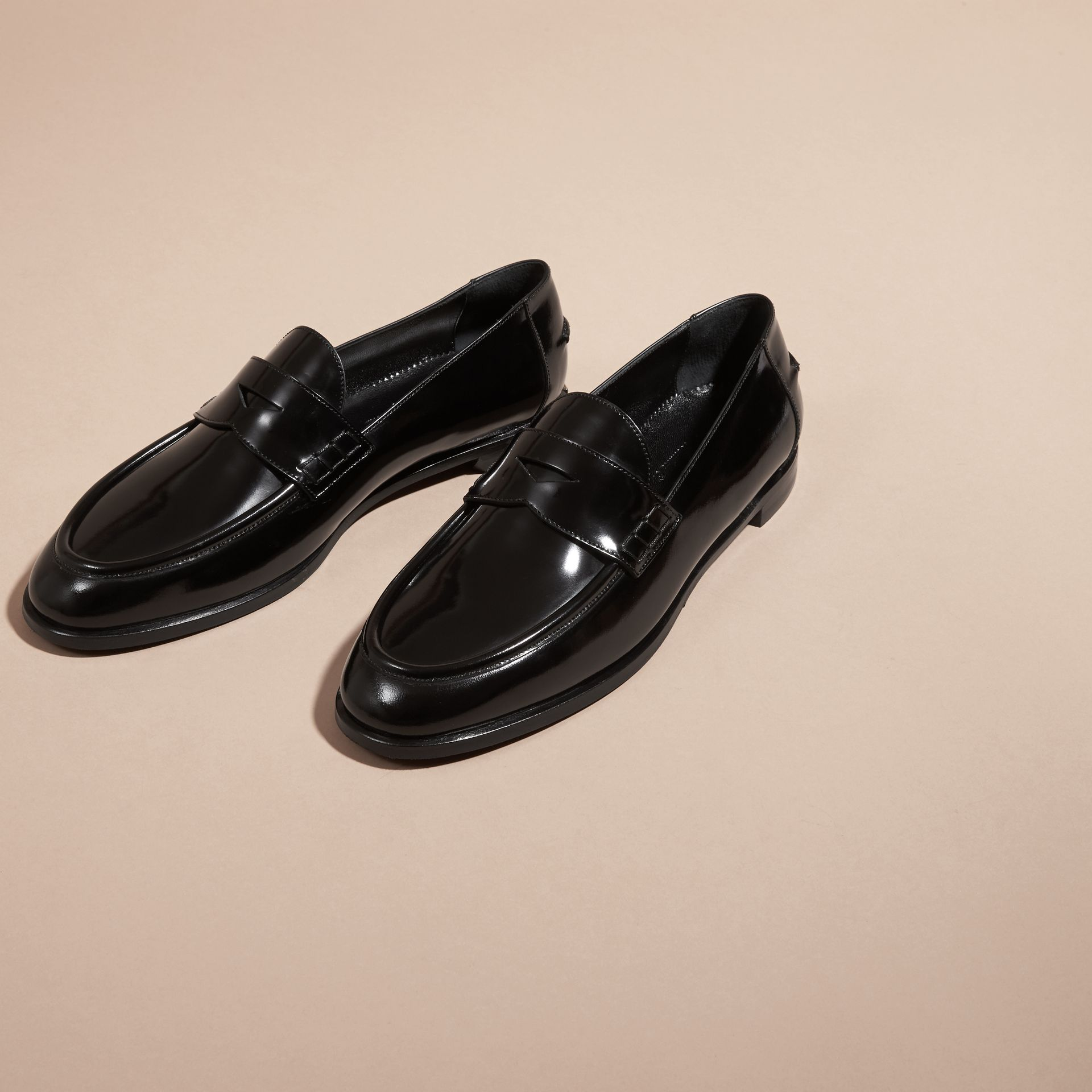 Black Polished Leather Loafers Black - gallery image 3